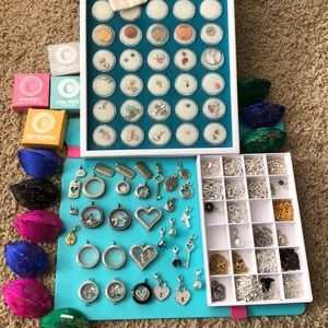 LOT Origami Owl necklaces, 12 lockets, 75+charms